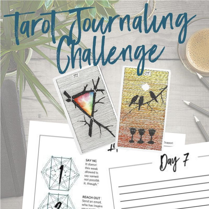 Join the 7-Day Tarot Journaling Challege at Tarot Card Mastery and get 7 days of tarot journal prompts and a weekly Tarot Discovery Journal. The tarot cards shown are from The Wild Unknown Tarot Deck available at www.thewildunknown.com. #thewildunknown #tarotcardmastery
