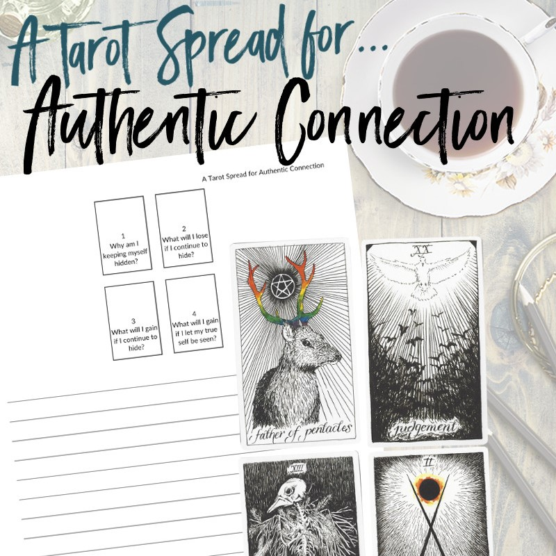 Get this free PDF tarot spread about authentic connection from Learn Tarot With Me. The tarot cards shown are from The Wild Unknown Tarot Deck available at www.thewildunknown.com. #thewildunknown #tarotcardmastery