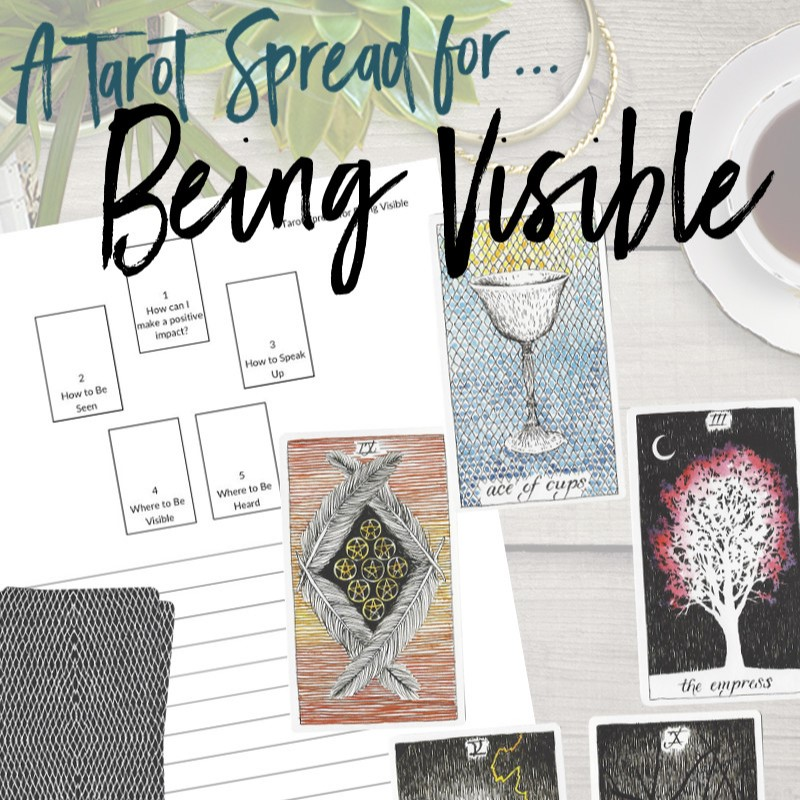 Get this free PDF tarot spread for being visible from Learn Tarot With Me. The tarot cards shown are from The Wild Unknown Tarot Deck available at www.thewildunknown.com. #thewildunknown #tarotcardmastery