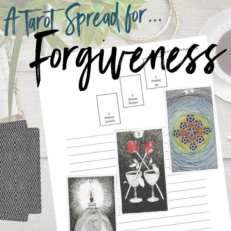 Get this free PDF tarot spread about forgiveness from Learn Tarot With Me. The tarot cards shown are from The Wild Unknown Tarot Deck available at www.thewildunknown.com. #thewildunknown #tarotcardmastery