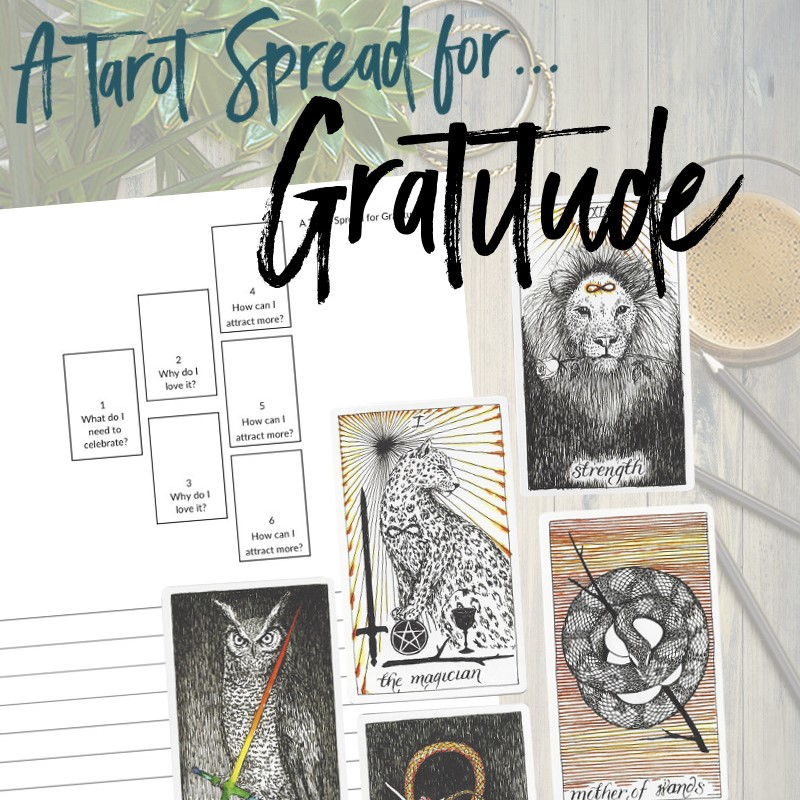Get this free PDF tarot spread for gratitude from Learn Tarot With Me. The tarot cards shown are from The Wild Unknown Tarot Deck available at www.thewildunknown.com. #thewildunknown #tarotcardmastery