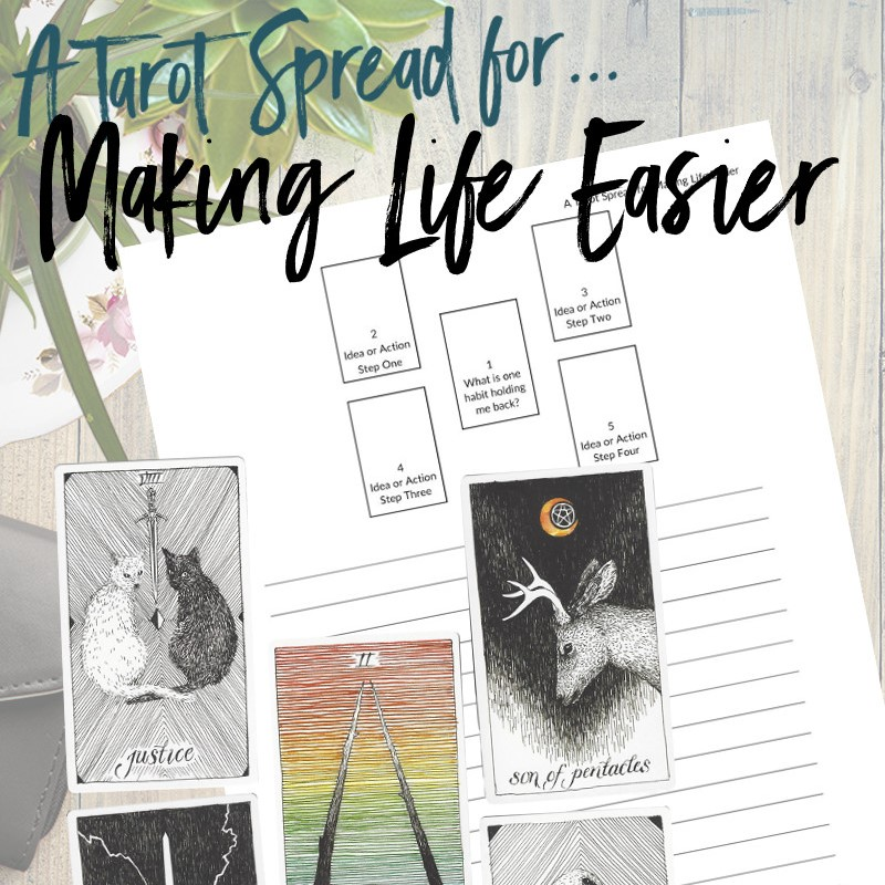 Get this free PDF tarot spread about making life easier from Learn Tarot With Me. The tarot cards shown are from The Wild Unknown Tarot Deck available at www.thewildunknown.com. #thewildunknown #tarotcardmastery